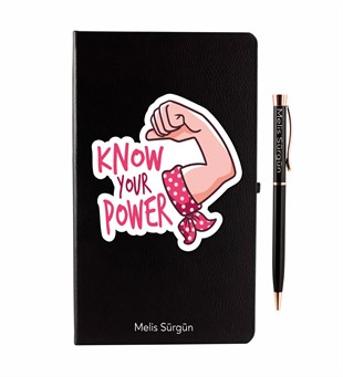 İsme Özel Defter Kalem Seti - Know Your Power Temalı
